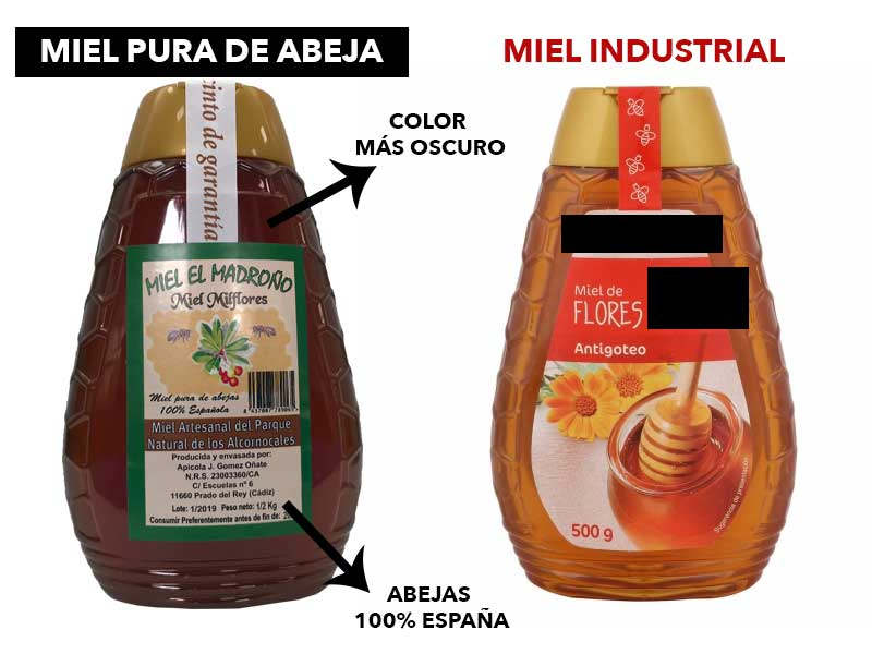 miel pura de abeja vs industrial